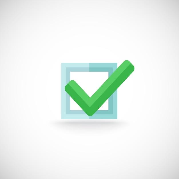 Häckchenzustimmungsbestätigung chek kennzeicheninternet-symbolpiktogramm-vektorillustration des dekorativen blauen quadratischen konturnprüfkastens grüne farb Kostenlosen Vektoren