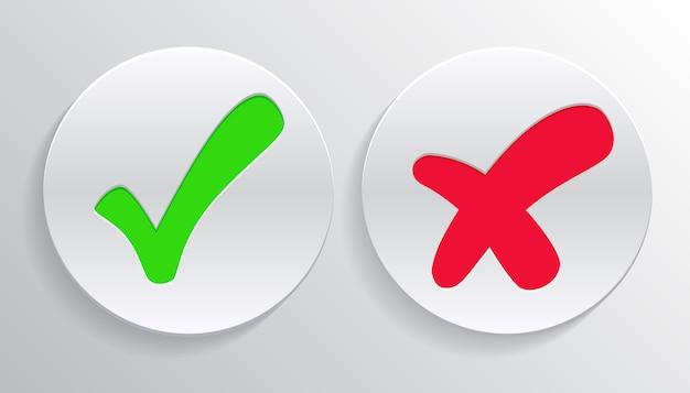 Häkchen grün häkchen und rotes kreuz der genehmigten und abgelehnten kreissymbole ja und nein schaltfläche zur abstimmung, entscheidung Premium Vektoren