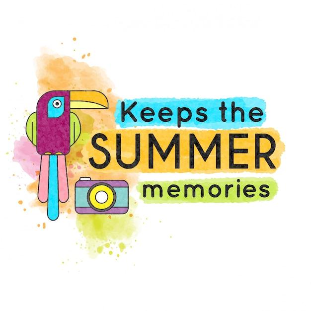 Hält die sommererinnerungen. aquarell banner mit tukan Premium Vektoren