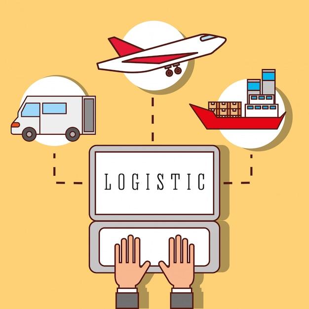 Hände arbeiten laptop logistik lkw flugzeug und frachtboot Premium Vektoren
