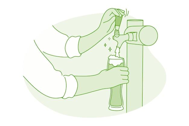 Hände des barkeepers barista, der frisches schaumiges bier vom zapfhahn zum glas gießt Premium Vektoren