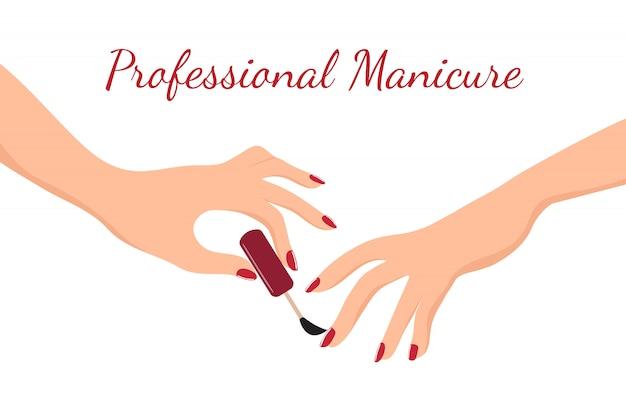 Hände des jungen mädchens, die maniküre mit rotem nagellack tun. schönheits-, körperpflege- und nagelsalonvektorkonzept Premium Vektoren