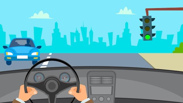 Hände, die auto fahren Premium Vektoren