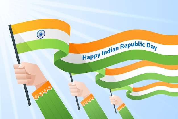 Hände, die indische flagge für nationaltag halten Kostenlosen Vektoren