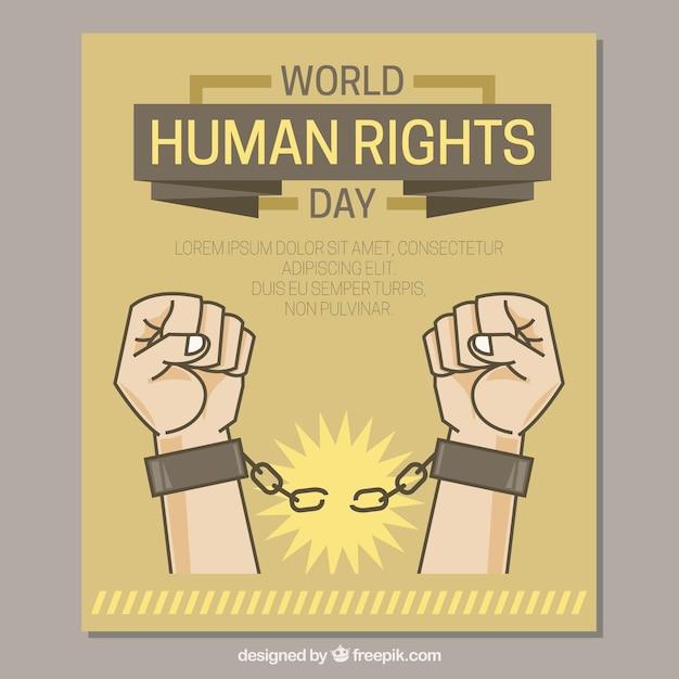Hände, die ketten, die menschenrechte tag brechen Kostenlosen Vektoren