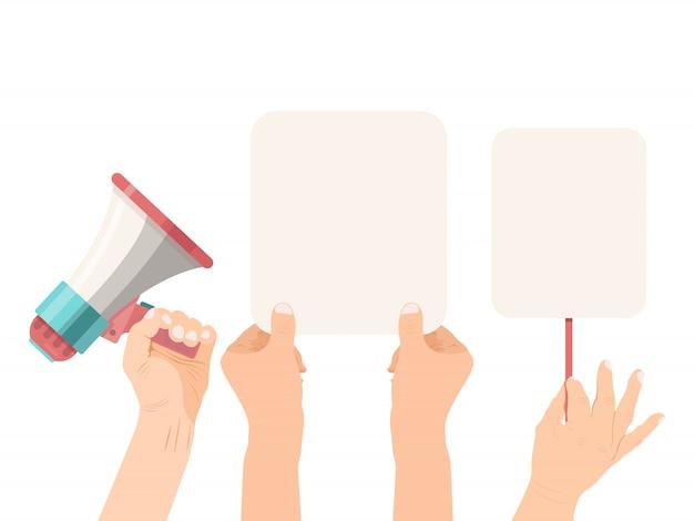 Hände, die leerzeichenfahnen und -megaphon halten. ankündigung leeres banner Premium Vektoren