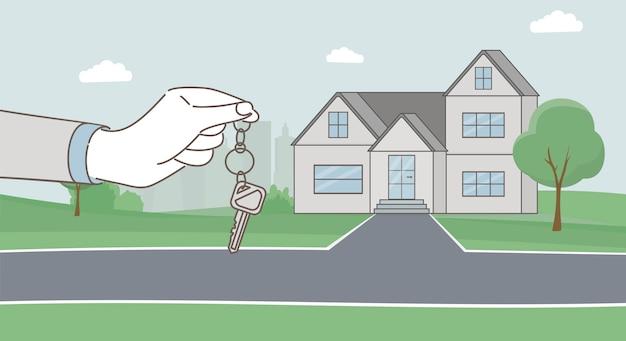 Hände, die schlüssel und moderne landhauskarikaturillustration halten. hypothekendarlehen, mieten sie ein hauskonzept. Premium Vektoren