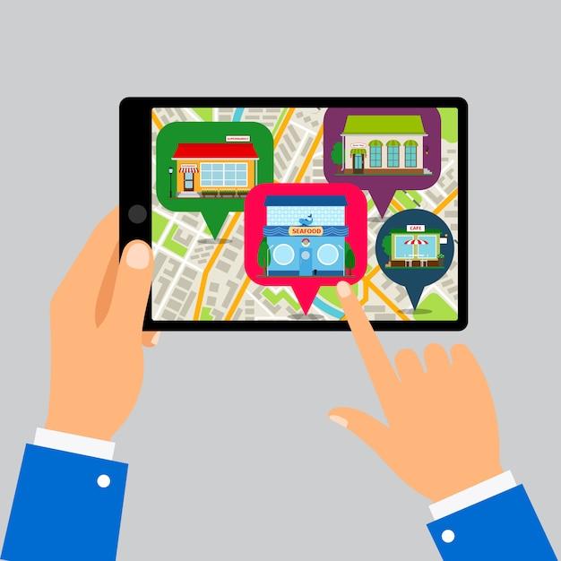 Hände, die tablette mit restaurantkarte halten Premium Vektoren