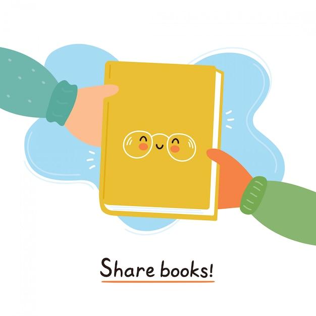 Hände führen nettes lächelndes glückliches buch. anteilbuchkarte, plakatkonzept. flaches zeichentrickfilm-figur-illustrationsdesign des vektors. isoliert auf weiss Premium Vektoren