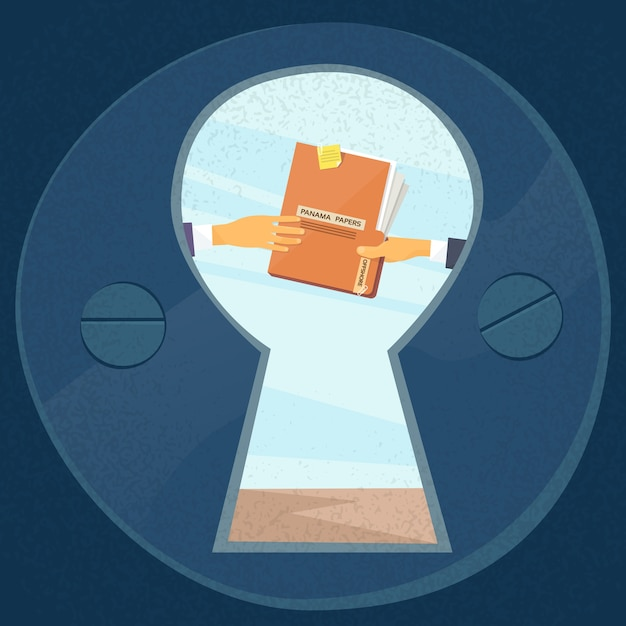 Hände geben panama papers folder secret document Premium Vektoren