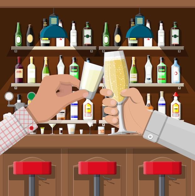 Hände gruppe, die gläser mit verschiedenen getränken hält Premium Vektoren