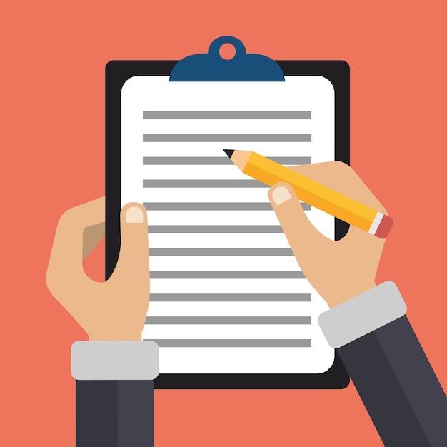 Hände halten dokument und bleistift Kostenlosen Vektoren
