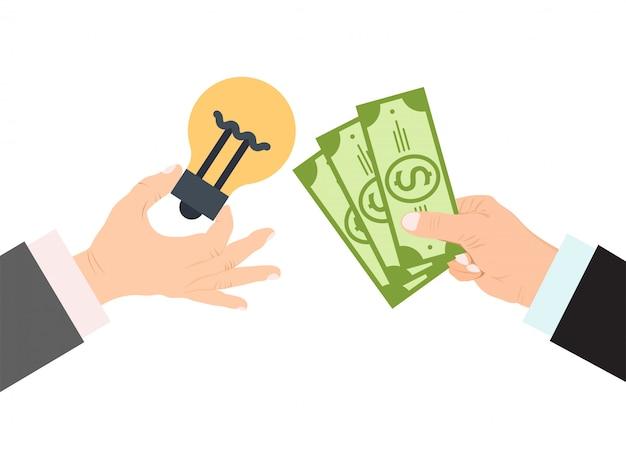 Hände halten glühlampen- und geldillustration. Premium Vektoren