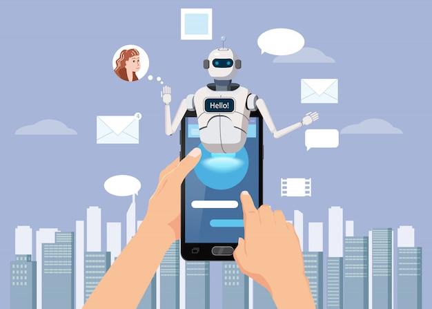 Hände halten smartphone free chat bot Premium Vektoren
