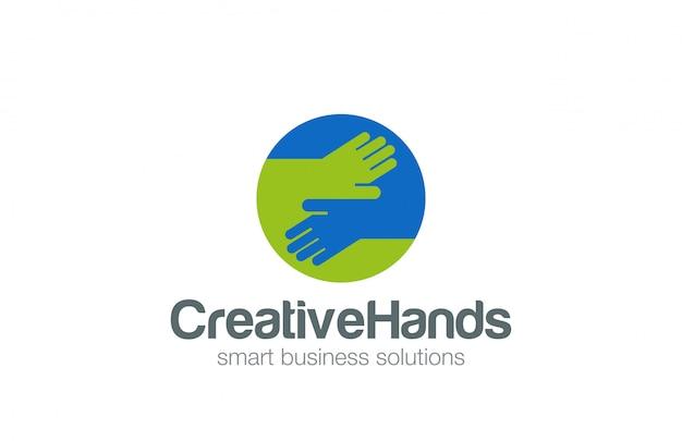 Hände im kreis logo flache symbol. Kostenlosen Vektoren