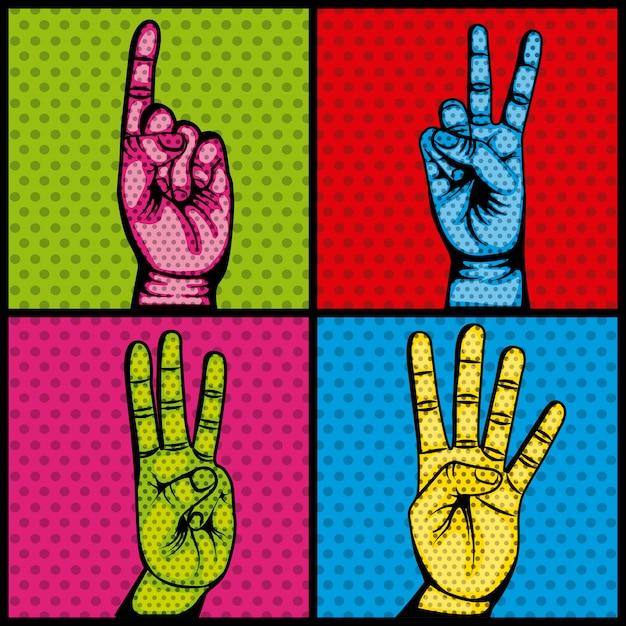 Hände menschlichen set sammlung symbol Premium Vektoren
