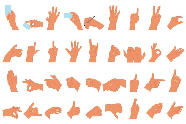 Hände mit den flachen eingestellten ikonen der unterschiedlichen gestenkarikatur lokalisierten weiß Premium Vektoren