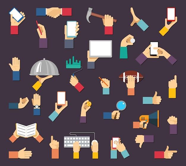 Hände mit gegenständen. hände halten geräte und werkzeuge. hand und gegenstand, gerätewerkzeughand, gerätehand Kostenlosen Vektoren