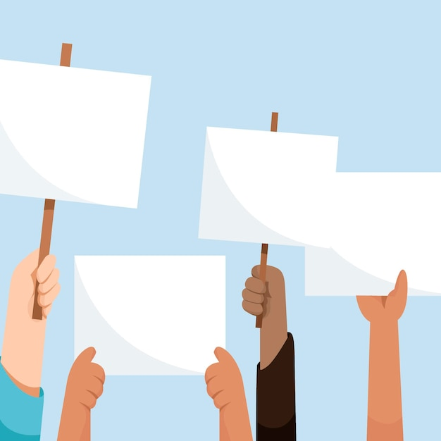 Hände mit plakaten in der luft Kostenlosen Vektoren