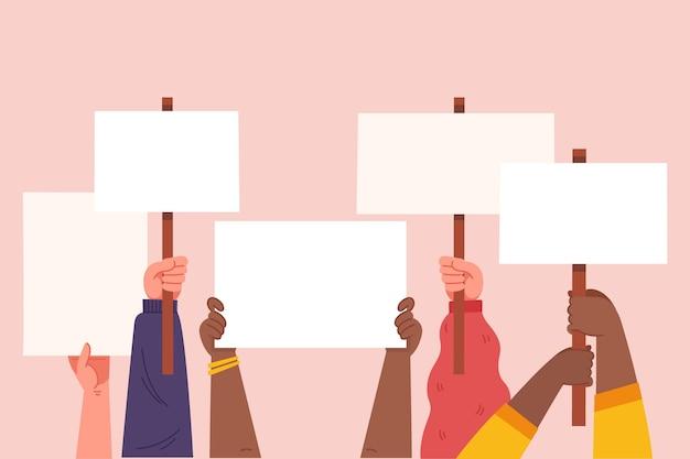 Hände mit plakatillustration Kostenlosen Vektoren