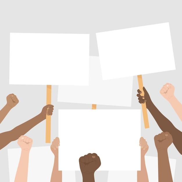 Hände mit plakatkonzept Kostenlosen Vektoren