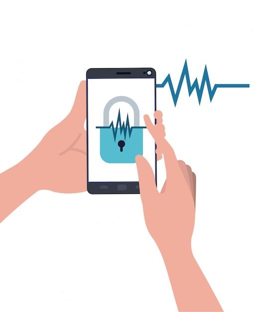 Hände mit smartphone und vorhängeschloss Premium Vektoren