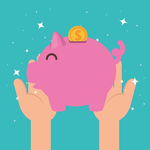 Hände mit sparschwein für wohltätige spende Kostenlosen Vektoren
