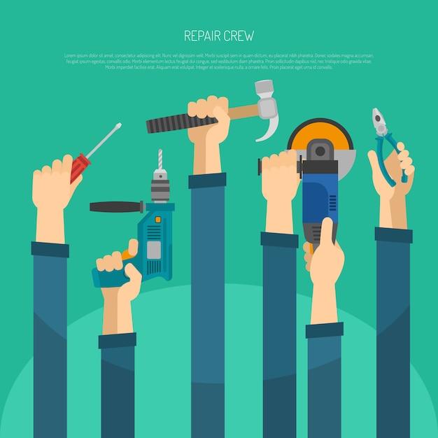 Hände mit werkzeugen Kostenlosen Vektoren