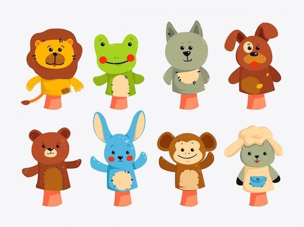 Hände puppen. puppen für kindertheater, aufführung für kinder. Premium Vektoren