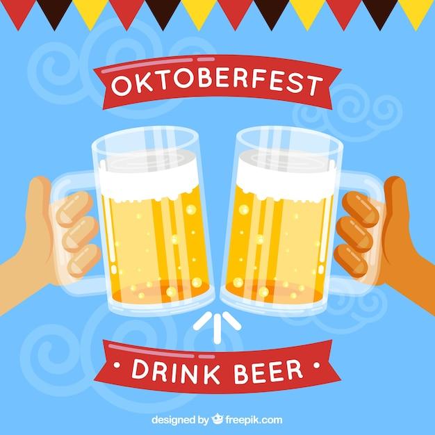 Hände rösten und feiern mit bier Kostenlosen Vektoren