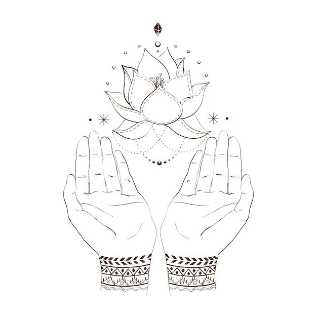 Hände und lotos Premium Vektoren