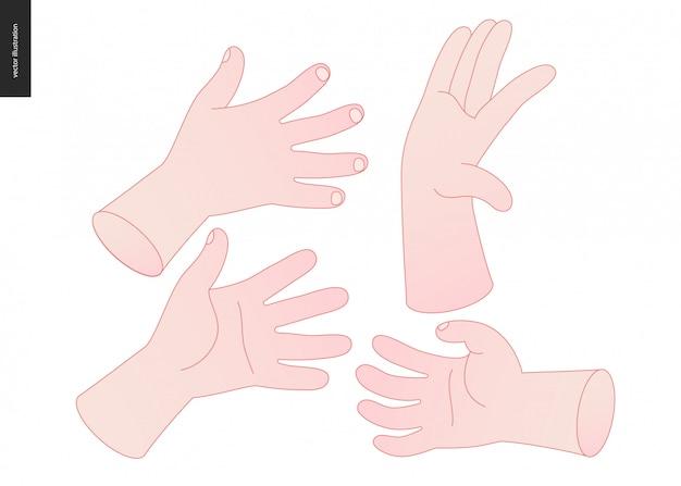 Hände vektor festgelegt Premium Vektoren