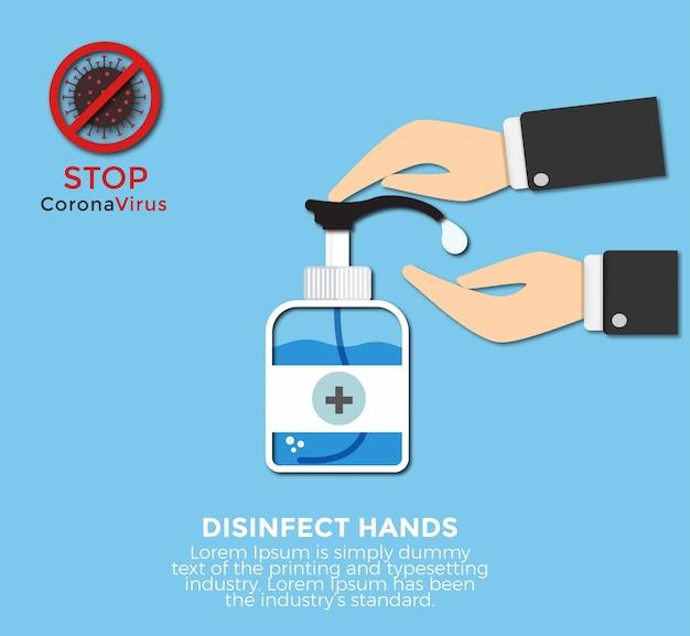 Hände waschen schritt für schritt und wie man händedesinfektion verwendet Premium Vektoren