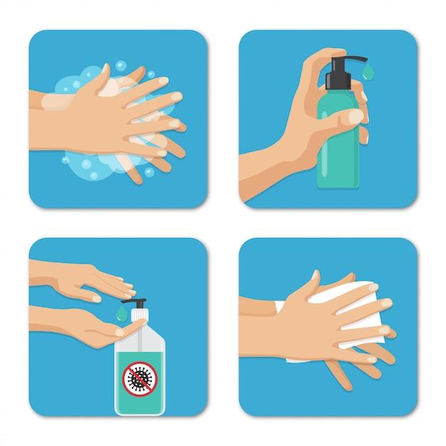 Hände waschen und desinfektion hintergründe in einem flachen design gesetzt. vorbeugende maßnahmen gegen coronavirus Premium Vektoren
