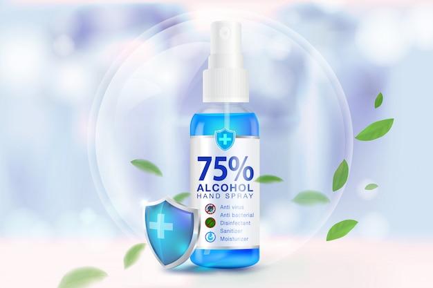 Händedesinfektionsspray 75% alkoholbestandteile Premium Vektoren