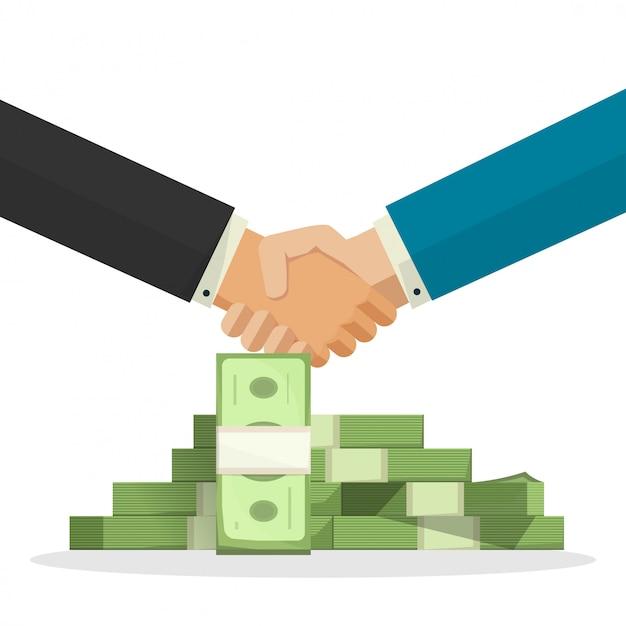 Händedruckerfolgsabkommen oder -vereinbarung nahe geldstapel-vektorillustration Premium Vektoren
