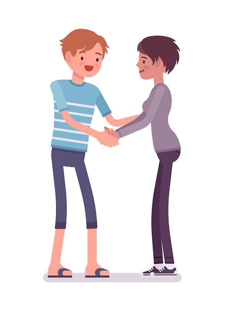 Händeschütteln des jungen mannes und der frau mit beiden händen Premium Vektoren