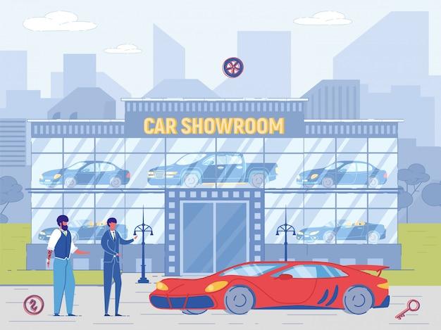 Händler verkaufen teures auto mit roten flecken an neuen besitzer Premium Vektoren
