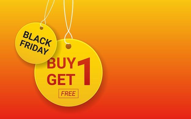 Hängen kaufen 1 bekommen 1 gratis etikett tag und schwarzen freitag kreis Premium Vektoren