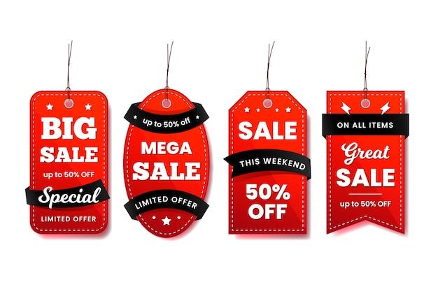 Hängende etikettensammlung in roten und schwarzen bändern Kostenlosen Vektoren