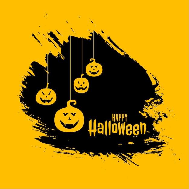 Hängende unheimliche kürbisse auf glücklicher halloween-karte Kostenlosen Vektoren