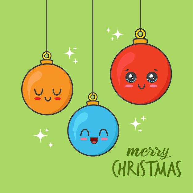 Hängende weihnachtskugeln lokalisiert auf grün Premium Vektoren