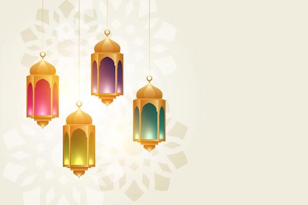 Hängender bunter eid festivallampen schöner hintergrund Kostenlosen Vektoren
