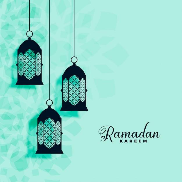 Hängender islamischer lampendekoration ramadan-kareem hintergrund Kostenlosen Vektoren