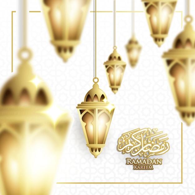 Hängender ramadan laterne-u. crescent-mond-hintergrund im undeutlichen konzept-vektor Premium Vektoren