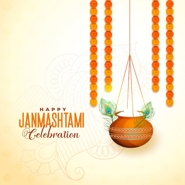 Hängendes matki mit makhan für janmashtami-festival Kostenlosen Vektoren