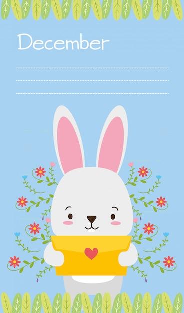 Häschen mit liebesbrief, niedlichen tieren, wohnung und cartoon-stil, illustration Kostenlosen Vektoren