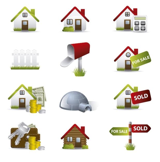 Häuser icon collecti Kostenlosen Vektoren