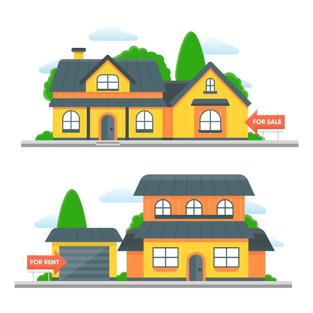 Häuser mit flohmarkt und mietkonzept Premium Vektoren
