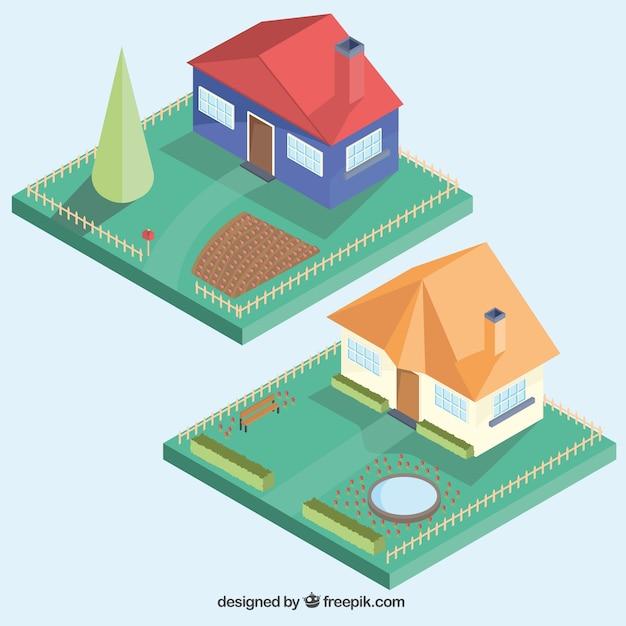 Häuser mit gärten Kostenlosen Vektoren